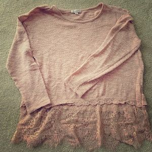 Dusty Rose Lace Sweater